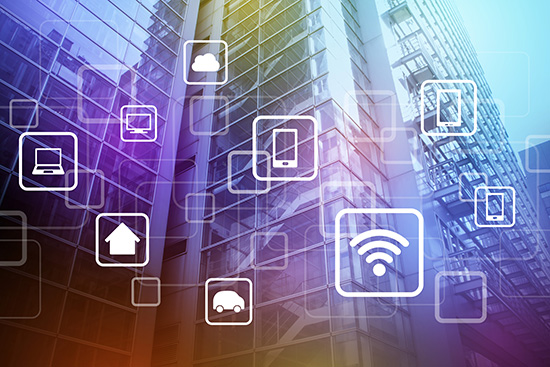 smart building and wireless communication network, internet of things(IoT), abstract image visual